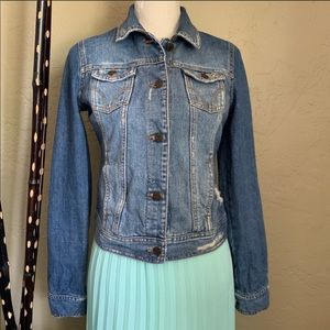 Hollister distressed denim trucker jacket Medium